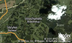Yandex map of  village Vovchynets