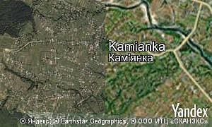 Yandex map of  village Kamianka