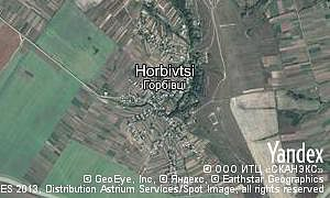 Yandex map of  village Horbivtsi