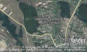 Yandex map of  village Verkhni Synivtsi