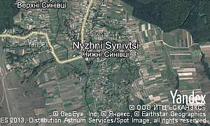 Map of  village Nyzhni Synivtsi