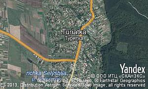 Yandex map of  village Turiatka