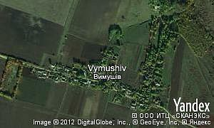 Yandex map of  village Vymushiv