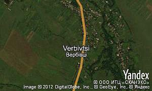 Satellite map of  village Verbivtsi