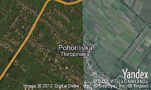 Satellite map of  village Pohorilivka