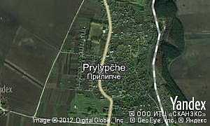 Yandex map of  village Prylypche
