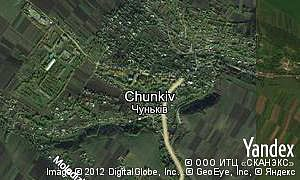 Yandex map of  village Chunkiv