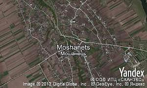 Satellite map of  village Moshanets