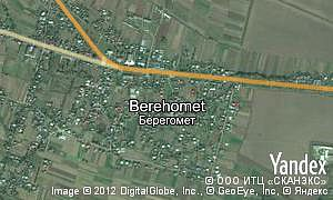 Yandex map of  village Berehomet