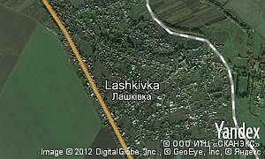 Satellite map of  village Lashkivka
