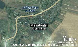 Yandex map of  village Maliatyntsi