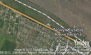 Yandex map of  village Novyi Kyseliv