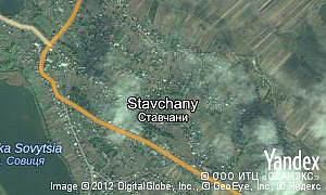 Yandex map of  village Stavchany