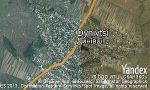 Yandex map of  village Dynivtsi