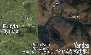 Satellite map of  village Parkulyna