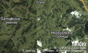 Google map of  village Hrobyshche