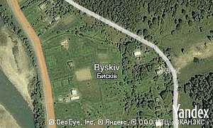 Yandex map of  village Byskiv