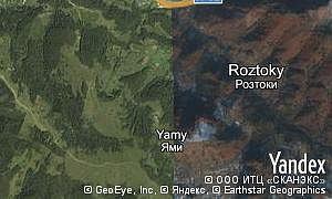 Yandex map of  village Roztoky