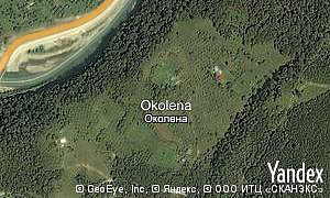 Yandex map of  village Okolena