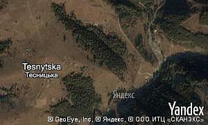 Satellite map of  village Tesnytska
