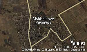 Yandex map of  village Mykhalkove
