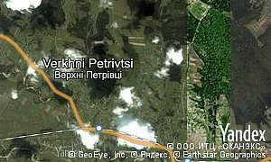 Yandex map of  village Verkhni Petrivtsi