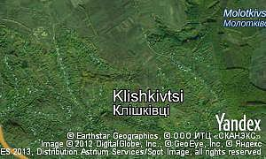 Satellite map of  village Klishkivtsi