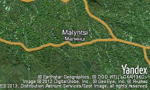 Satellite map of  village Malyntsi