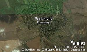 Yandex map of  village Pashkivtsi