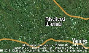 Yandex map of  village Shylivtsi
